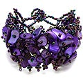 Bleek2Sheek Purple Mother of Pearl Bead Weave Bracelet