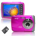 SVP WP6800 18MP Pink Waterproof Digital Camera with 4GB Micro SD