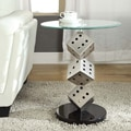ETHAN HOME Ryde Dice Pillar Tempered Glass Steel Modern End Table