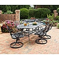 Home Styles Malibu Cast Aluminum Black 7-piece Outdoor Dining Set