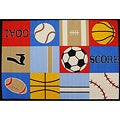"Kids Rugs Non-Skid Baseball Football Multi 4'6 ""x 6 '1"