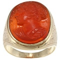 14k Yellow Gold Carved Agate Cameo Estate Ring