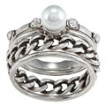 City Style Antique Silver Three-crystal and Pearl Stackable Ring