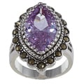 Antique Silver Marcasite Light Amethyst CZ Marquis Ring