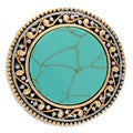NEXTE Jewelry Antiqued Brass Two-tone Round Turquoise Aztec Ring