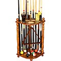 Hardwood Oak-finish Pool Cue Rack with Cup Holders and Ball Storage