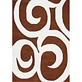 Metro Brown Swirl New Zealand Wool Blend Rug (5&#39; x 8&#39;)