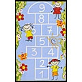 Kids' Non-Skid Blue Hopscotch Rug (3'3 x 4'7)