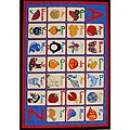Kids' Non-Skid Blue Alphabet Rug (3'3 x 4'7)