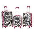 Rockland Pink Zebra Lightweight 3-piece Hardside Spinner Luggage Set