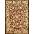 Hand-made Taj Mahal Rust New Zealand Wool Rug (5&#39; x 8&#39;)