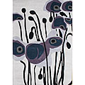 Hand Made Tufted Pencil Grey Flower New Zealand Wool Rug (9&#39; x 12&#39;)