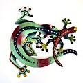 Recycled Steel Drum Red And Blue Lizards Wall Art (Haiti)