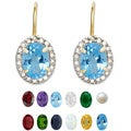 Dolce Giavonna Gold Overlay Gemstone/ Pearl and Diamond Birthstone Earrings (7 mm)