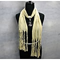 Fashion Jewelry Beige Scarf with Smokey Topaz Pendant