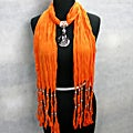 Fashion Jewelry Scarf Orange with Smoky Topaz