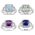 Miadora 10k White Gold Gemstone and 1/5ct TDW Diamond Ring (G-H, I1-I2)