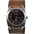 Nemesis Men's Retro Brown Leather-Strap Watch