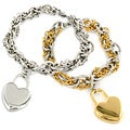 Women's Stainless-steel Double-chain Bracelet with Heart Charm