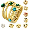 Goldtone Colored Crystal Stackable 5-piece Ring Set