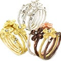 Metal Stackable Crystal Brushed Metal Flower Four-piece Ring Set