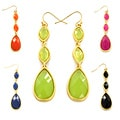 Goldtone Colored Resin Triple Drop Earrings
