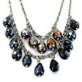 Stainless-steel Necklace with Black/Yellow Briolette-shaped Crystals