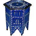 Handpainted Arabesque Wooden End Table (Morocco)