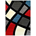 Studio 606 Geometric Color Block Design Black Area Rug (5' x 7')