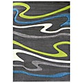 Studio 603 Wave Design Charcoal Area Rug (5' x 7')