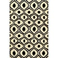 Hand-Tufted Modern Waves Black Polyester Rug (5'0 x 7'6)