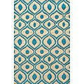 Hand Tufted Modern Waves Teal Polyester Rug (5&#39; x 7&#39;)