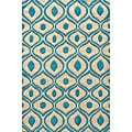 Hand Tufted Modern Waves Teal Polyester Rug (5' x 7')