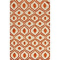 Hand Tufted Modern Waves Orange Polyester Rug (2'0 x 3'0)