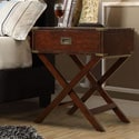 Neo Espresso Accent Table with X Leg Nightstand