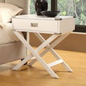 Neo White Accent Table with X Leg Nightstand