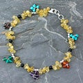 Sterling Silver 'Rainbow Gems' Multi-gemstone Anklet (India)