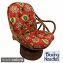 International Caravan Bali Rattan Outdoor Fabric Print Swivel Rocker Chair