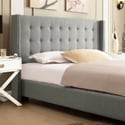 Francesca Grey Linen Wingback Nailhead Modern Bed