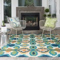 Indoor/Outdoor Hand-hooked Portia Ivory/ Blue Rug (9'3 x 13'0)