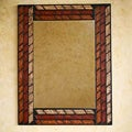 Handcrafted Leather &#39;Inca Bricks&#39; Mirror (Peru)