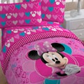 Minnie 'Fuschia Hearts' 5-piece Bed in a Bag with Sheet Set