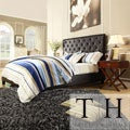 TRIBECCA HOME Sophie Dark Brown Vinyl Bed with 2 Espresso Box Nightstands