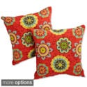 Blazing Needles Floral 20-inch Throw Pillows (Set of 2)