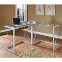 Silver Metal Glass Cable Frame Corner Computer Desk