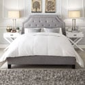 Esmeral Grey Linen Button Tufted Arched Bridge Upholstered King-size Bed