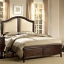 Isabel Dark Cherry Brown with Beige Tufted Linen Queen-size Bed