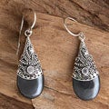 Sterling Silver 'Mystique' Hematite and Moonstone Earrings (Indonesia)