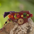 Leather and Cotton 'Carnival in Atitlan' Wrap Bracelet (Guatemala)