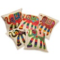 Applique Elephant Set of Six Cushion Covers with Kantha Embroidery (India)